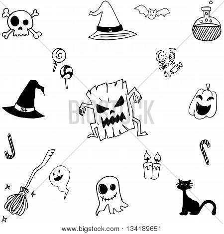 Halloween doodle set simple vector art illustration