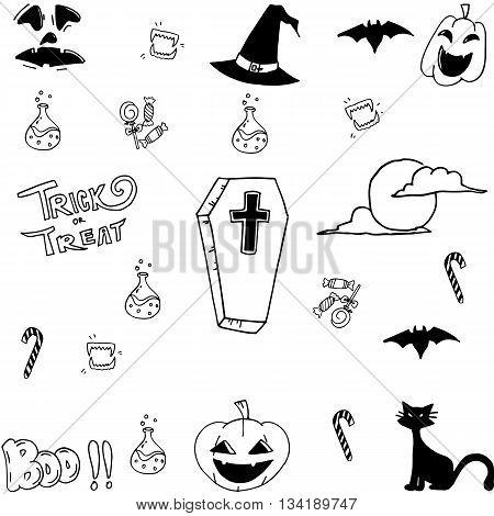 Cute halloween doodle vector art hand draw