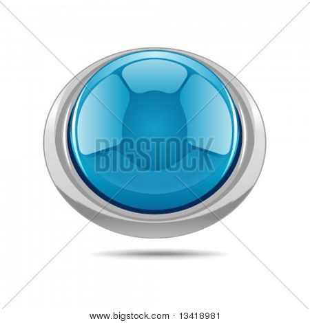 Blue vector shiny button