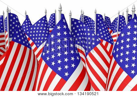 Many Small American Flags Isolated On White Closeup