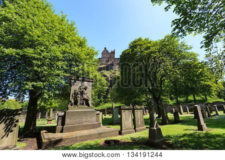 EDINBURGH - MAY 29 2016: Gravestones at The Parish Church of St Cuthbert on sunny day. This church is one of the famous churches in Edinburgh May 29 2016 in Edinburgh UK