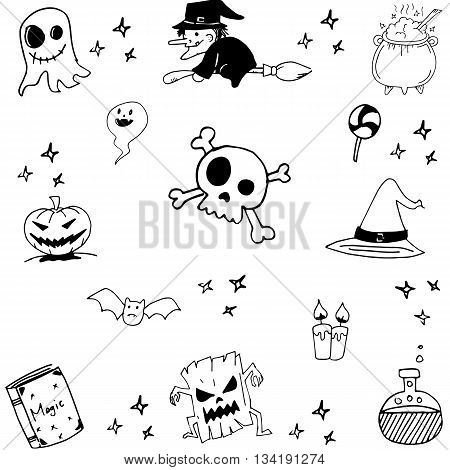 Halloween witch magic doodle vector art illustration