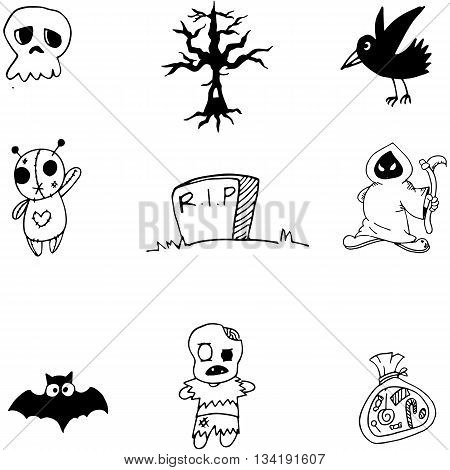 Cute halloween set doodle vector art collection