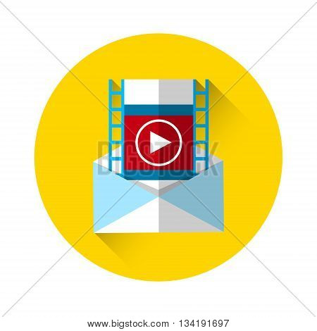 Video Record Play Icon Player Start Interface Flat Vector Illustration