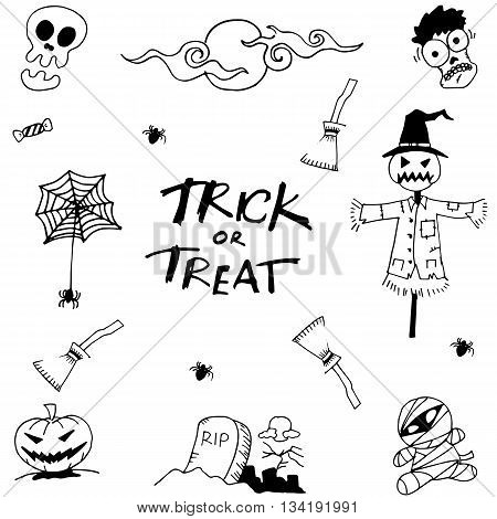 Set halloween collection doodle on white backgrounds