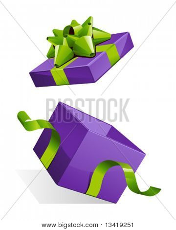 Vector open gift box with glossy green bow vector illustration
