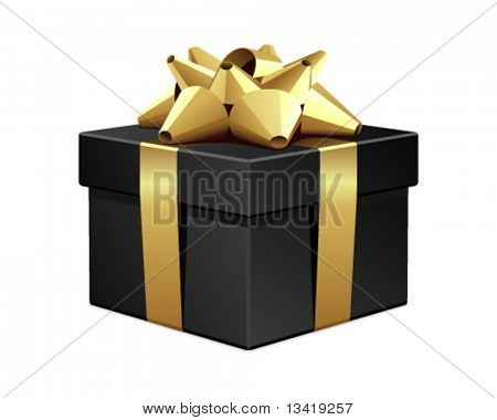 Black gift with gold bow vector illustration