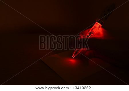 Light up red heart pen in the dark