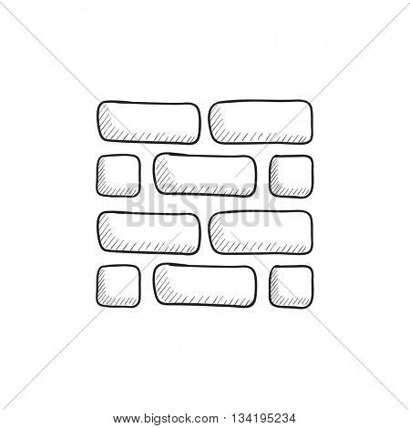 Brickwall vector sketch icon isolated on background. Hand drawn Brickwall icon. Brickwall sketch icon for infographic, website or app.
