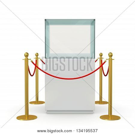 Glass showcase for exhibit with gold fence and red rope. 3D illustration