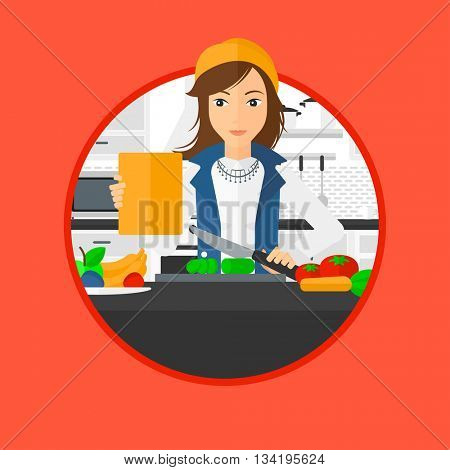 Woman cutting vegetables for salad. Woman following recipe for salad on digital tablet. Woman cooking healthy salad in kitchen. Vector flat design illustration in the circle isolated on background.