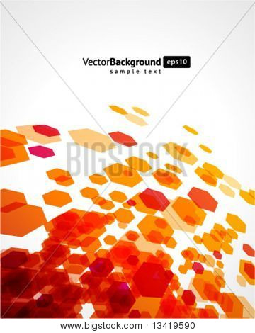 Abstract fly hexagon shapes vector background