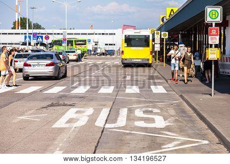 BERLIN / GERMANY - JUNE 4 2016: bus park track on airport schoenefeld berlin / germany at june 4 2016.