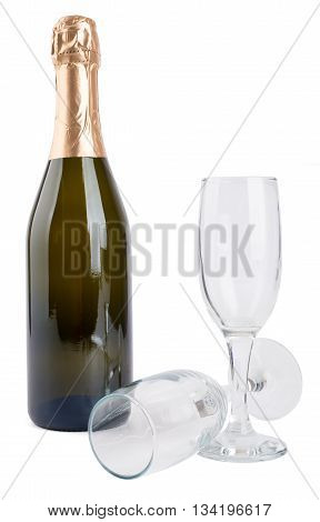 Champagne bottle and two champagne glasses isolated on white background