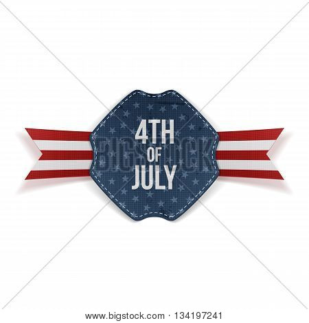 Independence Day 4th of July greeting Banner with Text and Ribbon isolated on white Background. Vector Illustration
