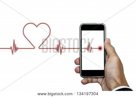 Hand holding smart phone with heart rhythm ekg, and heart shape, isolated on white background