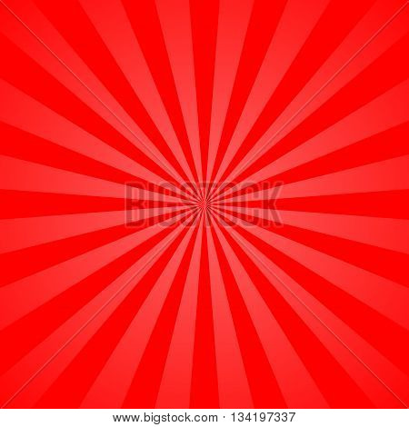 Red rays poster. Popular ray star burst background television vintage. Dark-red and light-red abstract texture with sunburst flare beam. Retro art design. Sun glow bright pattern Vector Illustration