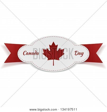 Greeting Graphic Element for Canada Day. Banner with Text and Ribbon isolated on white Background. Vector Illustration