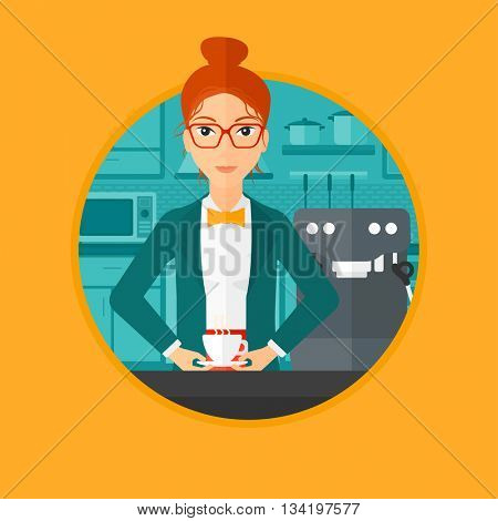 Woman making coffee with a coffee-machine. Woman with hot cup of coffee. Woman standing in the kitchen beside a coffee machine. Vector flat design illustration in the circle isolated on background.