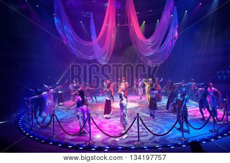 ST. PETERSBURG, RUSSIA - JUNE 2, 2016: Dress rehearsal of the Show of Water, Fire, And Light in the Ciniselli circus. This new show of Anatoly Sokol first time arrived in St. Petersburg