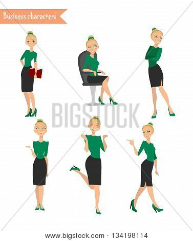 Set characters business woman Business Girl different poses