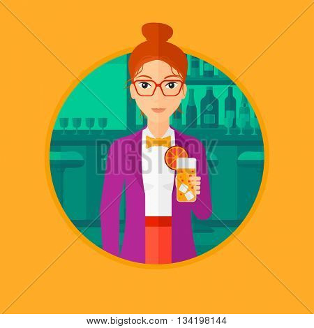 Joyful woman with an orange cocktail. Woman drinking an orange cocktail at bar. Woman celebrating at bar with an orange cocktail. Vector flat design illustration in the circle isolated on background.