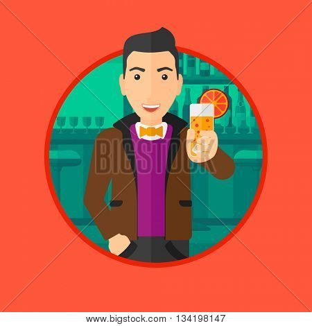 Joyful man holding an orange cocktail. Man drinking an orange cocktail at the bar. Man celebrating at bar with an orange cocktail. Vector flat design illustration in the circle isolated on background.