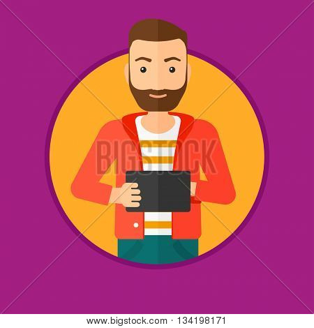 A hipster man with the beard holding a tablet computer. Student working on tablet computer. Man with tablet computer. Vector flat design illustration in the circle isolated on background.