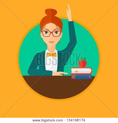 Female student raising hand in the classroom for an answer. Female student sitting at the table with raised hand. Vector flat design illustration in the circle isolated on background.