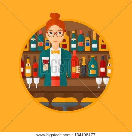 Female bartender standing at the bar counter. Female bartender with a bottle and a glass in hands. Female bartender at work. Vector flat design illustration in the circle isolated on background.