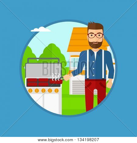 Man cooking meat on gas barbecue grill in the backyard. Man preparing food on barbecue grill. Man having outdoor barbecue. Vector flat design illustration in the circle isolated on background.