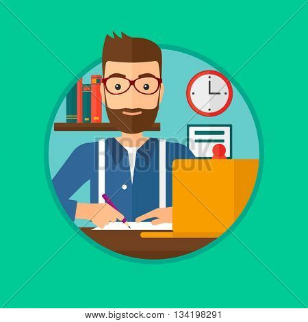 A hipster student sitting at the desk with laptop. Student using laptop at home and writing notes. Student working on laptop. Vector flat design illustration in the circle isolated on background.