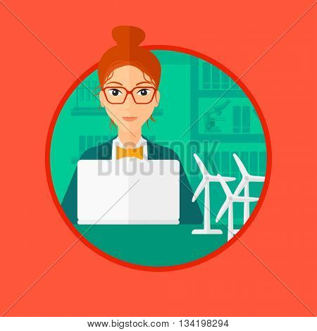 Woman working in office with laptop and model wind turbine on table. Woman working with model wind turbines. Green energy concept. Vector flat design illustration in the circle isolated on background.