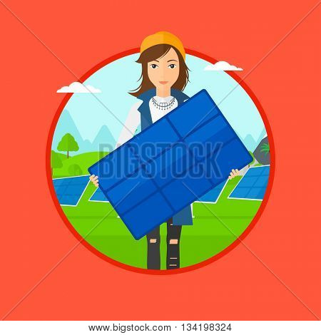 Woman holding solar panel. Woman with solar panel in hands standing on background of solar power plant. Renewable energy concept. Vector flat design illustration in the circle isolated on background.