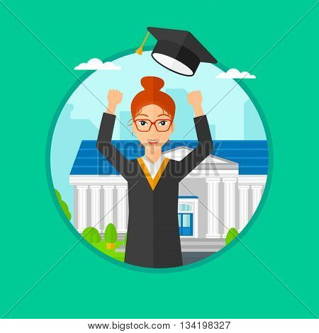 Graduate in cloak and graduation hat. Graduate throwing up her hat. Graduate celebrating on a background of educational building. Vector flat design illustration in the circle isolated on background.