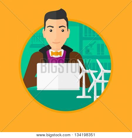 Man working in office with laptop and model wind turbine on the table. Man working with model wind turbines. Green energy concept. Vector flat design illustration in the circle isolated on background.