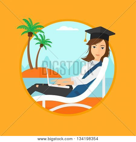 A happy graduate lying in chaise long. Graduate in graduation cap working on laptop. Graduate relaxing on a tropical beach. Vector flat design illustration in the circle isolated on background.