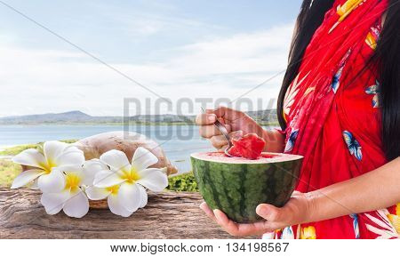 Women With Red Simply Summer Dress Hand Holding Half Watermelon, Women Standing And Eating Watermelo