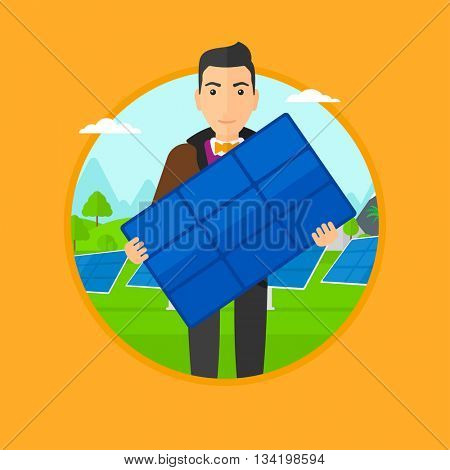 Man holding solar panel in hands. Man with solar panel in hands standing on background of solar power plant. Green energy concept. Vector flat design illustration in the circle isolated on background.