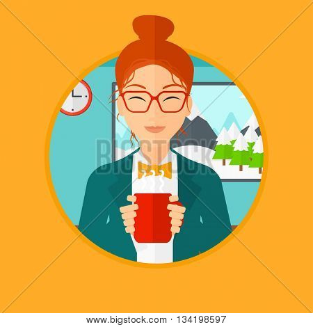 Woman drinking hot flavored coffee. Young smiling woman with cup of delicious coffee. Woman enjoying fresh coffee at home. Vector flat design illustration in the circle isolated on background.
