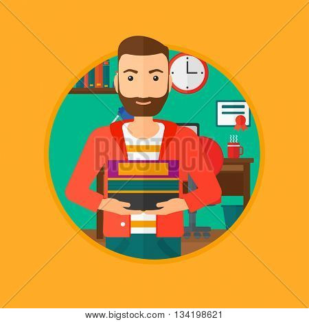 A hipster man with the beard holding pile of books. Man with pile of books in hands at home. Smiling student with stack of books. Vectr flat design illustration in the circle isolated on background.