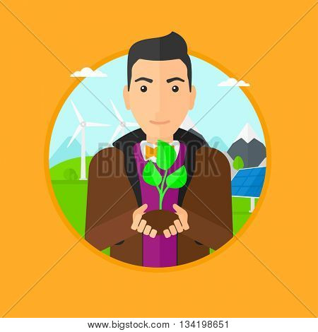 Man holding in hands green small plant in soil. Man with plant in hands on a background with solar pannels and wind turbins. Vector flat design illustration in the circle isolated on background.