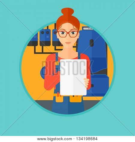 A female plumber in overalls making some notes in her clipboard. Plumber inspecting heating system in boiler room. Vector flat design illustration in the circle isolated on background.