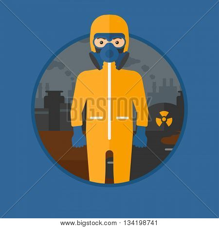 A man wearing gas mask and radiation protective suit. Man in radiation protective suit on a background of nuclear power plant. Vector flat design illustration in the circle isolated on background.
