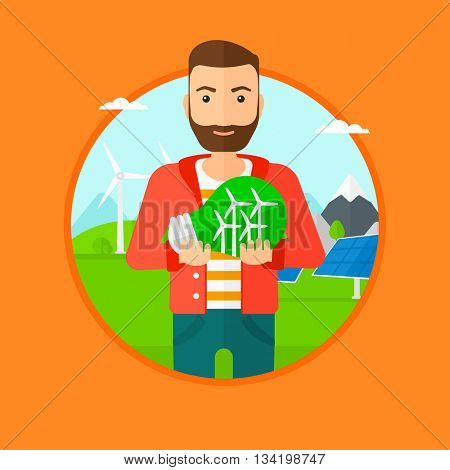 Man holding a big light bulb with small wind turbines inside. Man standing on a background with solar pannels and wind turbines. Vector flat design illustration in the circle isolated on background.