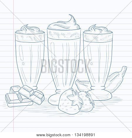 Banana, strawberry and chocolate smoothies. Smoothies hand drawn on notebook paper in line background. Smoothies vector sketch illustration.