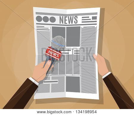 hand holding a microphone and newspaper. journalims concept. vector illustration in flat design on brown background