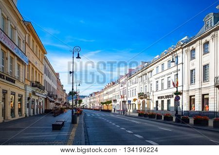 Warsaw, Poland - August 1, 2015 : Tourists on foot Street in Warsaw, Poland. is the capital and largest city of Poland. August 1, 2015 in Warsaw