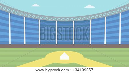 Background of baseball stadium. Baseball field vector flat design illustration. Baseball diamond. Sport concept. Horizontla layout.