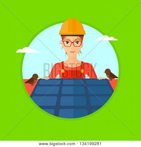 A woman installing solar panels on roof. Technician in inuform and hard hat checking solar panels on roof. Vector flat design illustration in the circle isolated on background.
